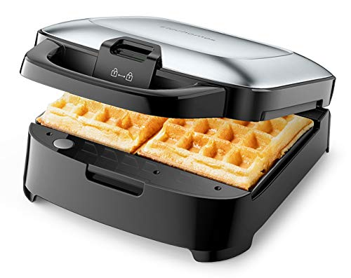 Elechomes Belgian Waffle Maker with Removable Plates, Easy to Use and Dishwasher Safe, Non-Stick, 2-Slices, Cord-Storage, Premium Stainless Steel