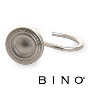 BINO Shower Curtain Hooks - Brushed Nickel, Set of 12 Shower Curtain Rings - Shower Hooks for Curtain Shower Rings