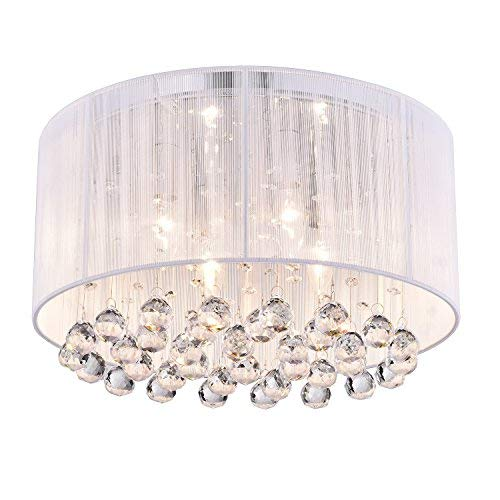 Edvivi Belle 4-Light Chrome Finish with White Thread Wrapped Drum Shade Flush Mount Chandelier Ceiling Fixture with Hanging Crystals | Glam Lighting