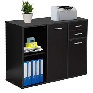 Bizzoelife Wood File Cabinet, Large Modern Lateral Office Filing Cabinet with 2-Drawers and 3 Drawer Doors, Printer Stand with Open Storage Shelves for Home Office (Black)