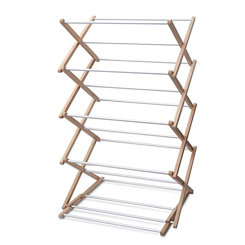 INNOKA 4-Tier Wooden Aluminum Stackable Foldable Clothes Laundry Drying Rack w/Sturdy Base for Indoor/Outdoor - Home Essentials in Smart Adjustable Design, Perfect for Living Room, Balcony, Basement
