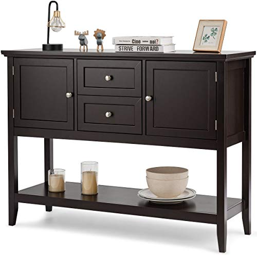Giantex Buffet Sideboard, Wood Storage Cabinet, Console Table with Storage Shelf, 2 Drawers and Cabinets, Living Room Kitchen Dining Room Furniture, Wood Buffet Server (Coffee Brown)