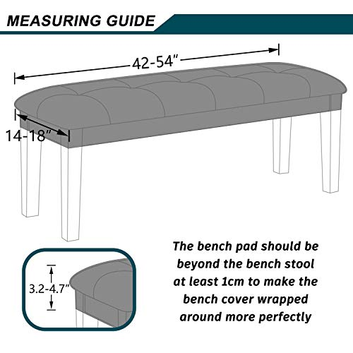 Colorxy Velvet Bench Covers for Dining Room - Stretch Spandex Upholstered Bench Colorxy Velvet Bench Covers for Dining Room - Stretch Spandex Upholstered Bench Slipcover Rectangle Removable Washable Bench Furniture Seat Protector for Living Room, Bedroom, Kitchen (Light Gray).