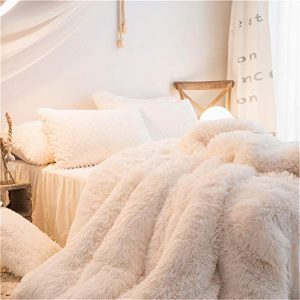 MOOWOO 1 PCS Super Soft Shaggy Plush Flannel Duvet Cover, Faux Fur Fluffy Bedding, Zipper Close and Ties, No Inside Filler (Beige, Queen)