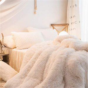 MOOWOO 1 PCS Super Soft Shaggy Plush Flannel Duvet Cover, Faux Fur Fluffy Bedding, Zipper Close and Ties, No Inside Filler (Beige, Queen)