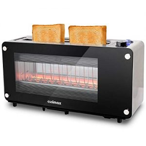 CUSIMAX 2 Slice Toaster Long Slot Toasters with Window, Bangel Toaster, Stainless Steel Bread Toaster with Automatic Lifting, Removable Crumb Tray and Slide-out Glass Panel