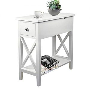 ChooChoo Flip Top Open End Table, Narrow Side Table Slim End Table for Living Room Bedroom White