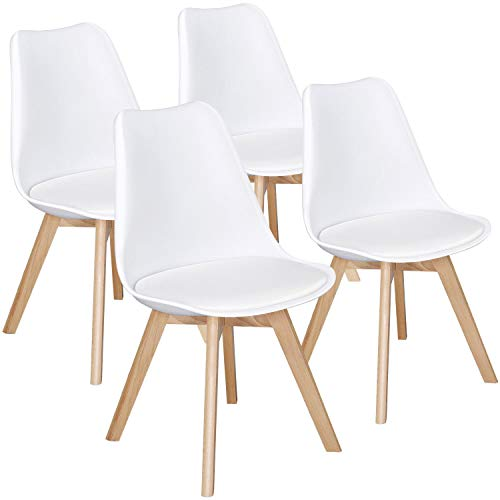 Yaheetech Dining Chairs DSW Chair Tulip Chair Shell PU Side Chair with Beech Wood Legs Modern Mid Century Eiffel Inspired Chair Upholstered Dining Room Living Room Bedroom Kitchen Chairs White,4Pcs