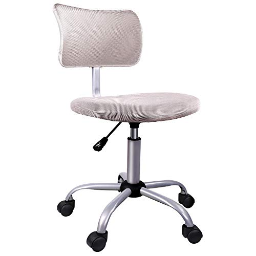 Armless Office Chair, Low-Back Computer Task Office Desk Chair with Swivel Casters for Home Office Conference(Leaden Grey)