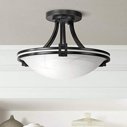 "Deco Modern Ceiling Light Semi Flush Mount Fixture Oil Rubbed Bronze 16"" Wide Marbleized Glass Bowl for Bedroom Kitchen Living Room Hallway Bathroom - Possini Euro Design"