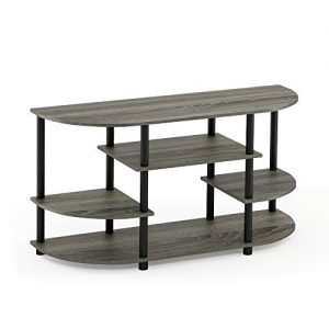 Furinno JAYA Simple Design Corner TV Stand, French Oak Grey/Black
