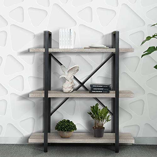 KINGSO 3-Tier Industrial Bookshelf, Rustic Wood Etagere Bookcase Open Storage Guarantee: Producer guarantee for 365 days from date of buy.