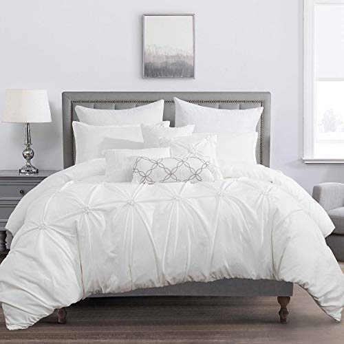 Sapphire Home Luxury 7 Piece King Comforter Set with Shams Cushions, Unique Pinch Pleat Pintuck Style, All Season Comforter, Bed Cover Bed in a Bag, (21921, King, White)