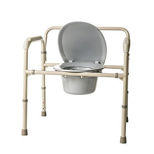 HEALTHLINE Heavy Duty Commode Bariatric, Medical Bedside Folding Bariatric Commode Chair Toilet for Elderly Seniors Disabled, Wide, 650 lbs, Gray