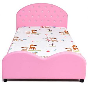 HONEY JOY Kids Bed, Upholstered Platform, Wood Princess Bedframe, Sleeping Bedroom Furniture, Crystal Embedded Bed for Girls (Pink)