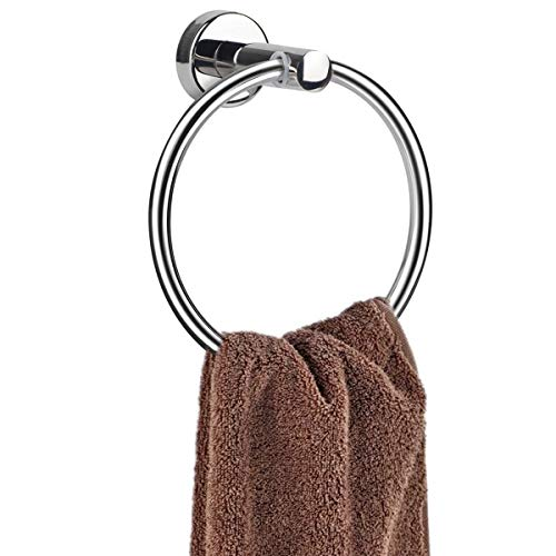 MongFun Towel Ring for Bathroom, Hand Towel Ring Chrome, Bath Towel Holder Hanger Hooks for Kitchen, Silver Rustproof Polished 304 Stainless Steel (Drill Needed)