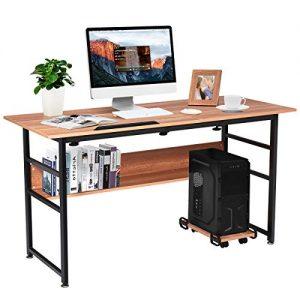 """Tangkula 55"""" Computer Desk, Drafting Desk w/Storage Shelf & CPU Stand, Craft Workstation w/Tiltable Desktop for Artist, Home Office Desk (Walnut)"""