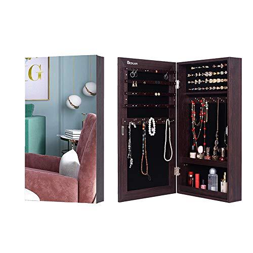 KEDLAN Jewelry Cabinet Wall Hanging Door Mounted Mirrored Space Saving Organizer in Living Room or Bedroom, Brown