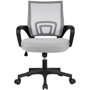 YAHEETECH Ergonomic Mesh Office Chair Gray Mid Back Ergonomic Computer Chair Desk Chair with Lumbar Support & 360° Rolling Casters Gray