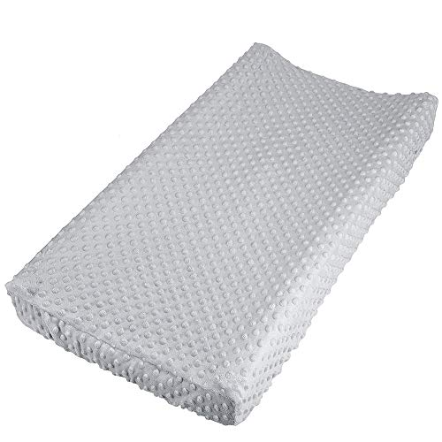 """Baby Changing Pad Cover, Super Soft Minky Dot Diaper Changing Table Covers for Baby Girls and Boys, Ultra Comfortable, Safe for Babies, Fit 32""""/34'' x 16"""" Pad (Gray)"""