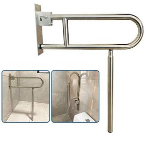 Flip Up Grab Bars for Bathroom Toilet Rails Handicap Grab Bars Shower Safety Hand Rails for Elderly Bathtub Grab Bar Tub Handicapped Toilet Support Shower Handles Bath Rail Folding Grip Bar