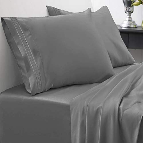 1800 Thread Count Sheet Set – Soft Egyptian Quality Brushed Microfiber Hypoallergenic Sheets – Luxury Bedding Set with Flat Sheet, Fitted Sheet, 2 Pillow Cases, Queen, Gray