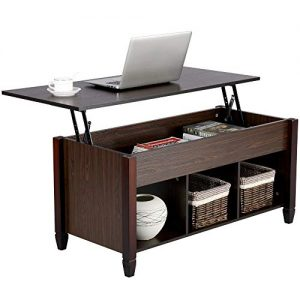 Yaheetech Lift Top Coffee Table with Hidden Storage Compartment & Shelf, Lift Tabletop Dining Table for Living Room, 19.2-24.6in H