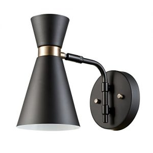 Belmont 1-Light Wall Sconce, Satin Black, Gold Accents,65855
