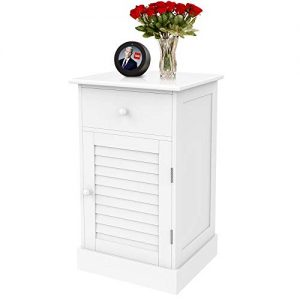 YAHEETECH Nightstand End Table with One Drawer and Slatted Door, Wooden Accent Table Sofa Bed Side Storage Cabinet White