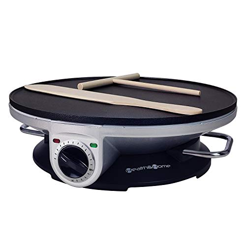 Health and Home Crepe Maker - 13 Inch Crepe Maker & Electric Griddle & Non-stick Pancake Maker-Crepe Pan (Silver-A)