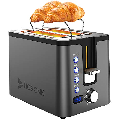 2 Slice Toaster, Hosome Stainless Steel Bread Toaster with 6 Browning Settings, Extra Wide Slot Toaster with Warming Rack,LED Display,Bagel/Defrost/Reheat/Cancel Function,800W, Ash Black