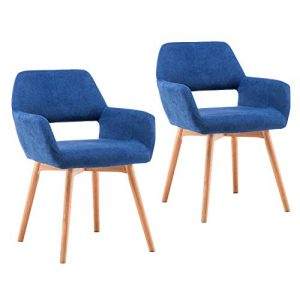 Homy Grigio Modern Living Dining Room Accent Arm Chairs Club Guest with Solid Wood Legs (Set of 2,Blue)