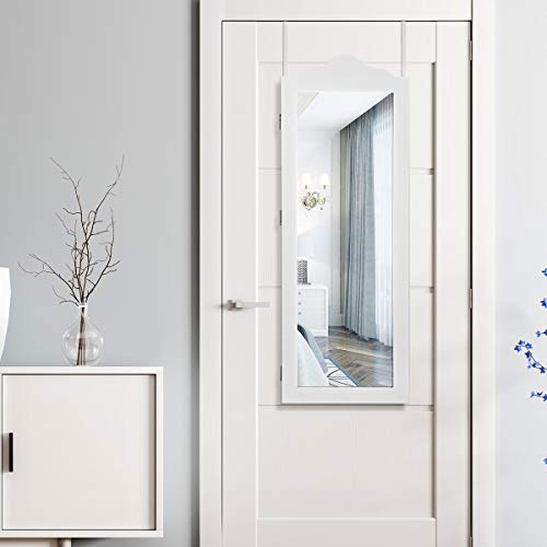 Giantex Wall Door Mounted Jewelry Armoire with Full Length Mirror Giantex Wall Door Mounted Jewelry Armoire with Full Length Mirror, Bedroom Bathroom Hanging Jewelry Cabinet Chest with 56 Ring Slots 23 Necklace Hooks 72 Ring Slots Deep Storage Organizer, White.
