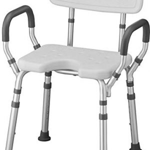NOVA Shower & Bath Chair with Back & Arms & Hygienic Design, Quick & Easy Tools Free Assembly, Lightweight & Seat Height Adjustable, Great for Travel