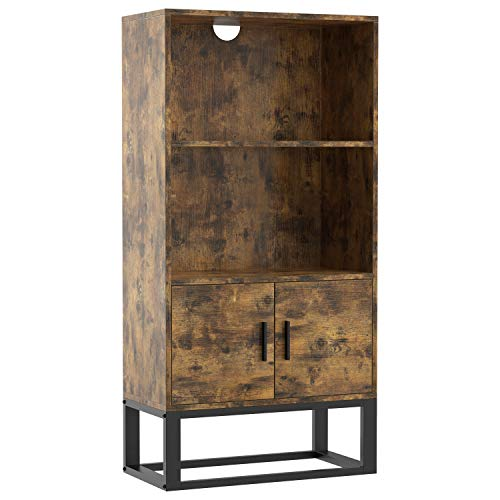 IRONCK Industrial Bookcase with Doors, Bookshelf 47.2 in Height with 2 Shelves, Storage Cabinet for Books, Photos, Decorations, in Living Room, Office, Library,Vintage Brown