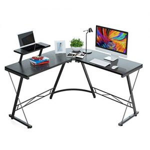 Foxemart L Shaped Desk Home Office Desk with Round Corner Modern Sturdy Computer Desk with Large Monitor Shelf for Workstation, Bedroom, Living Room, Black