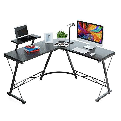 Foxemart L Shaped Desk Home Office Desk with Round Corner Modern Sturdy Computer Desk with Large Monitor Shelf for Workstation, Bedroom, Living Room, Black