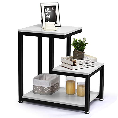 Tangkula Sofa End Table, 3-Tier Nightstand with Storage Shelf, Sturdy Metal Frame, Ladder-Shaped Chair Side Table, Rustic Tabletop Industrial Storage Shelf for Living Room or Bedroom (White)