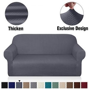 Granbest Thick Loveseat Sofa Covers for 2 Cushion Couch Stylish Pattern Couch Covers for Sofa Stretch Jacquard Sofa Slipcover for Living Room Dog Pet Furniture Protector (Medium, Gray)