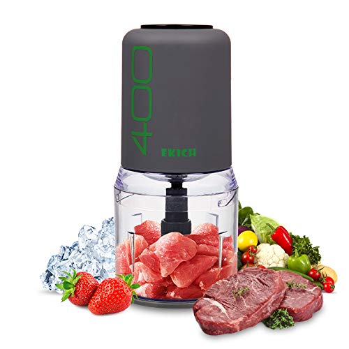 HaveGet Electric Mini Food Processor Blender 1 Pack 400 Watt and 4 Stainless Steel Blades Control Multifunctional Meat Chopper Grinder for Meat, Vegetables, Fruits and Nuts (2CUP GRY)