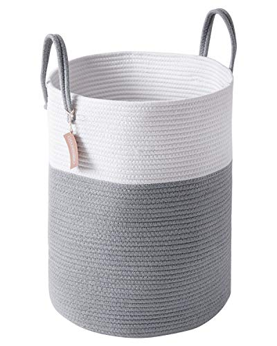 YOUDENOVA 58L Large Woven Laundry Hamper Basket, 15Dx20H Tall Decorative Wicker Storage Basket Bins with Long Handles for Blanket, Laundry, Toys for Baby and Dogs