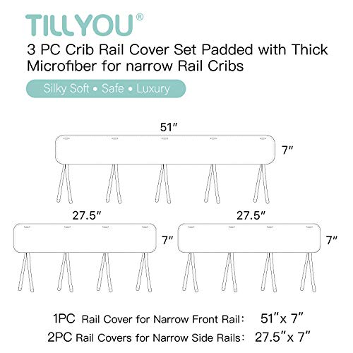 TILLYOU 3-Piece Padded Baby Crib Rail Cover Protector Set from Chewing Package deal Dimensions: 9.1 x 3.1 x 7.Three inches