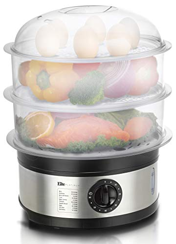 Elite Platinum EST-2301 Electric Food Steamer with BPA-Free 3 Tier Nested Trays w/Egg Rack, 650W Fast Heating, 8.5Qt, Stainless Steel