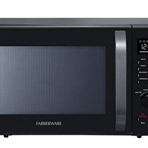 Farberware Black FMO10AHDBKC 1.0 Cu. Ft. 1000-Watt Microwave Oven with Healthy Air Fry, Grill/Convection Function, ECO Mode and LED lighting, Black Stainless Steel