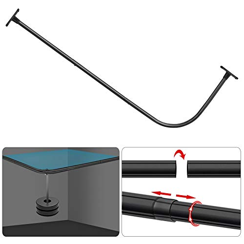 """PrettyHome L Shaped Shower Rod Corner Shower Curtain Rods Rustproof Bathroom Shower Curtain Rail Large Space 28""""x68"""" for Bathroom,Cloting Store,Private,Black Finished"""