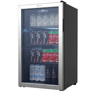 Vremi Beverage Refrigerator and Cooler - 110 to 130 Can Mini Fridge with Glass Door for Soda Beer or Wine - Small Drink Dispenser Machine for Office or Bar with Removable Shelves and Adjustable Feet