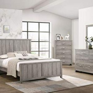 GTU Furniture Lyndon Weathered Light Grey Panel Bedroom Set (King, 6 Pc)