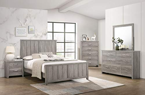 GTU Furniture Lyndon Weathered Light Grey Panel Bedroom Set (King, 6 Pc)