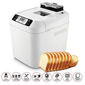 JIERTYU Bread Maker, Gluten Free Menu Bread Machine 2LB, 12 Preset Functions Fastbake Breadmaker Beginner Friendly Bakery Bread Maker 550W