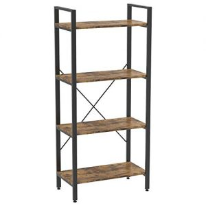 IRONCK Bookshelf, 4-Tier Ladder Shelf, Industrial Bookcase Storage Rack for Living Room, Bedroom, Farm House, Kitchen, Office Rustic Home Decor